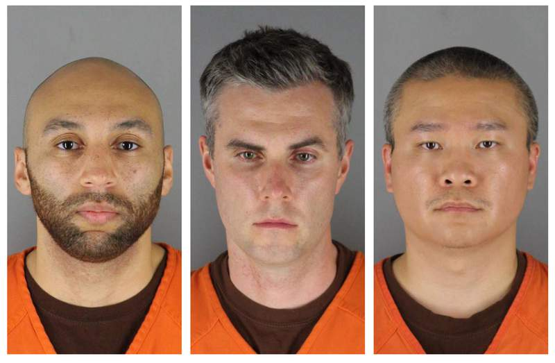 HOLD FOR STORY MOVING OVERNIGHT  FILE  This combination of photos provided by the Hennepin County Sheriff's Office in Minnesota on Wednesday, June 3, 2020, shows from left, Minneapolis Police Officers J. Alexander Kueng, Thomas Lane and Tou Thao. Attorneys for two former Minneapolis police officers charged with aiding and abetting murder in the death of George Floyd are asking a judge to bar their clients' upcoming trial from being livestreamed, saying some witnesses won't testify if the proceedings are broadcast. (Hennepin County Sheriff's Office via AP, File)