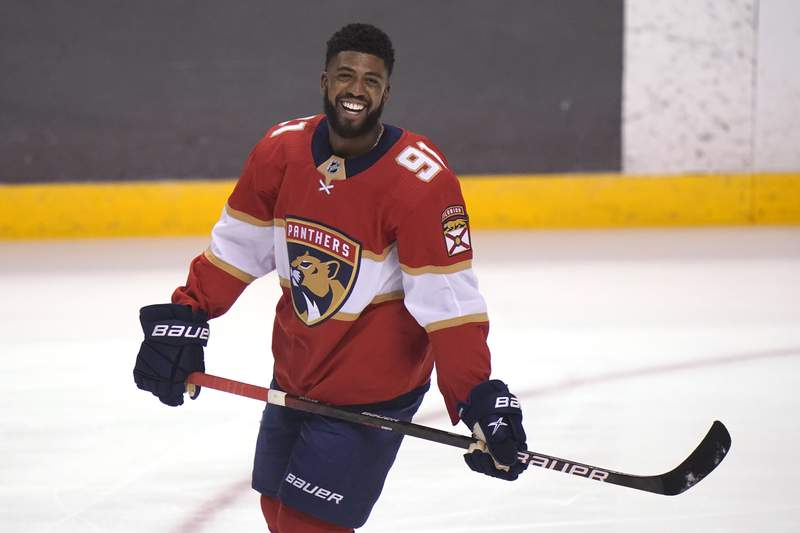 Florida Panthers left wing Anthony Duclair warms up before an NHL hockey game against the Columbus Blue Jackets, Monday, April 19, 2021, in Sunrise, Fla.