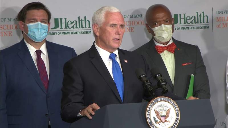 Vice President Mike Pence visits South Florida to discuss COVID-19 vaccine production
