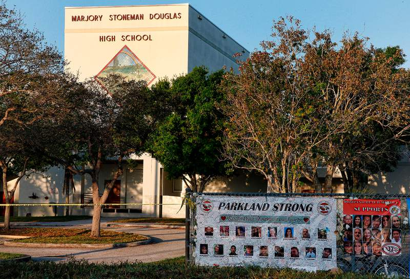 A general view of Marjory Stoneman Douglas High School in Parkland on February 27, 2018. (Photo by RHONA WISE/AFP via Getty Images)