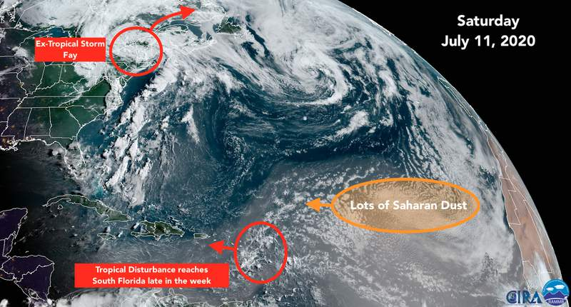 Satellite view of the Atlantic tropics for July 11.
