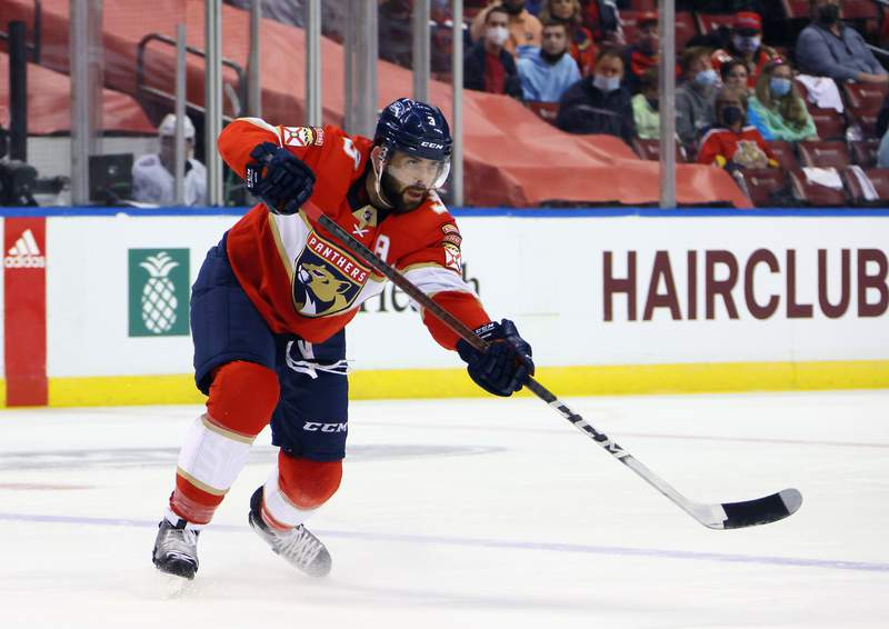 Keith Yandle of the Florida Panthers skates against the Tampa Bay Lightning in Game One of the First Round of the 2021 Stanley Cup Playoffs at the BB&T Center on May 16, 2021 in Sunrise, Florida.