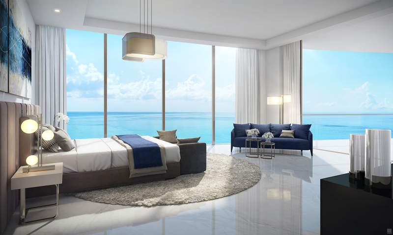 Estates at Acqualina in Sunny Isles Beach. (Amalfi master bedroom)