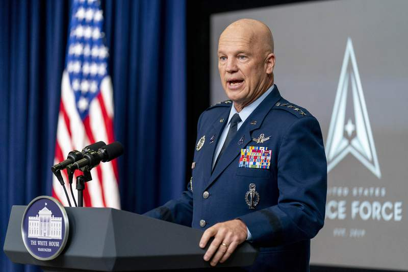 Chief of Space Operations at U.S. Space Force Gen. John Raymond speaks at a ceremony to commemorate the first birthday of the U.S. Space Force at the Eisenhower Executive Office Building on the White House complex, Friday, Dec. 18, 2020, in Washington. (AP Photo/Andrew Harnik)