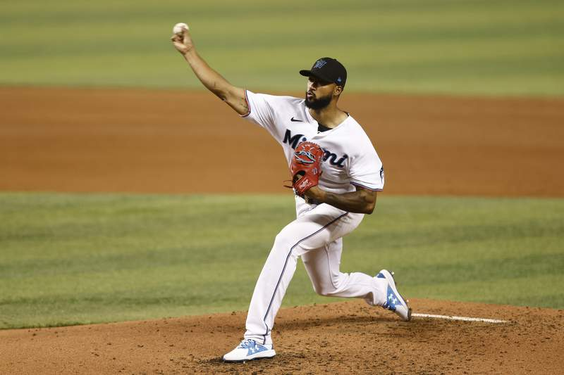 Sandy Alcantara of the Miami Marlins delivers a pitch during the fourth inning against the Toronto Blue Jays at loanDepot park on June 22, 2021 in Miami, Florida.