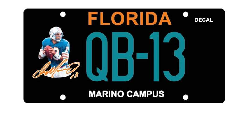 A look at the Dan Marino license plate that has been approved by the state and is available for preorder.