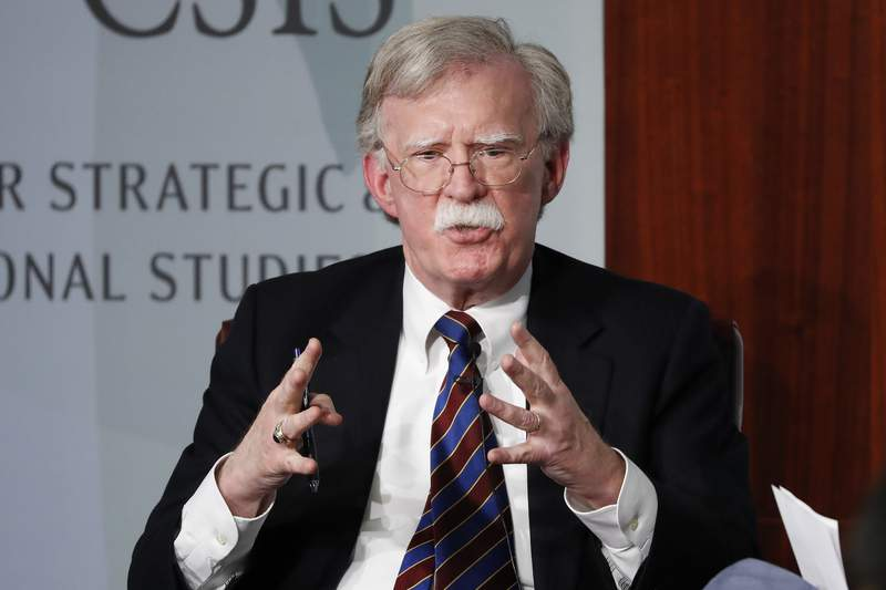 FILE - In this Sept. 30, 2019 file photo, former National security adviser John Bolton gestures while speaking at the Center for Strategic and International Studies (CSIS) in Washington. A judge ruled on Thursday that the Trump administration can move forward with its lawsuit against former national security adviser John Bolton over that his tell-all book, which officials say contains classified information.  (AP Photo/Pablo Martinez Monsivais)