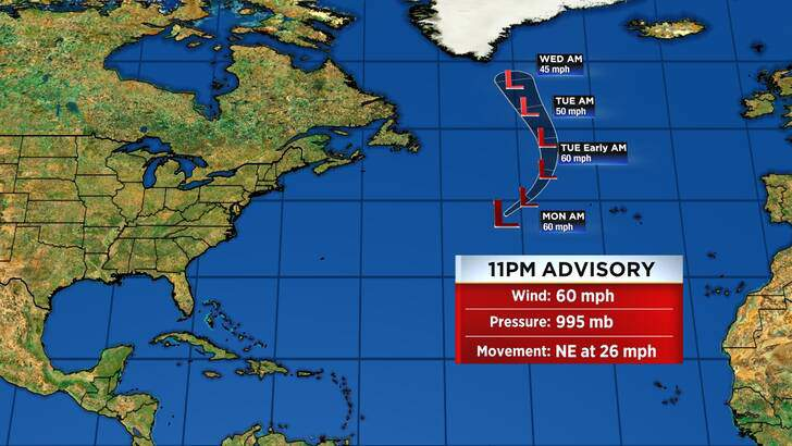 Tropics Forecast Cone at 4:57 Monday Night, August 30th