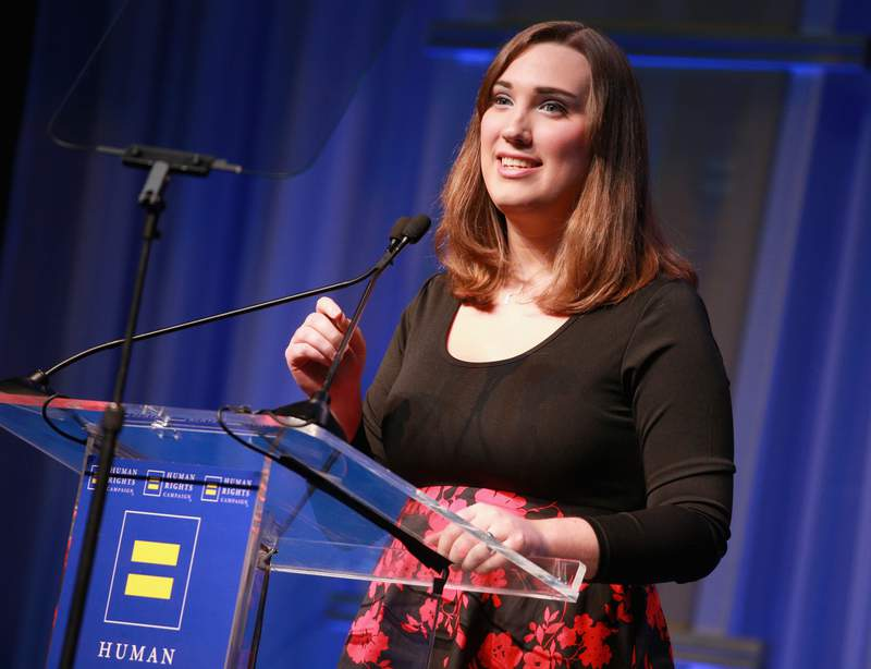 Sarah McBride, National Press Secretary for the HRC Foundation, speaks onstage at The Human Rights Campaign 2018 Los Angeles Gala Dinner at JW Marriott Los Angeles at L.A. LIVE on March 10, 2018 in Los Angeles, California.  (Photo by Rich Fury/Getty Images for Human Rights Campaign (HRC))