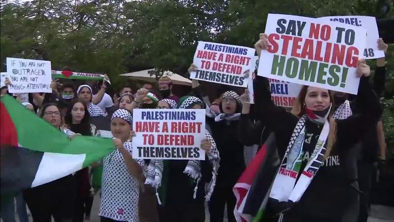 Supporters of Palestine gather in Wynwood to speak out against Middle East conflict