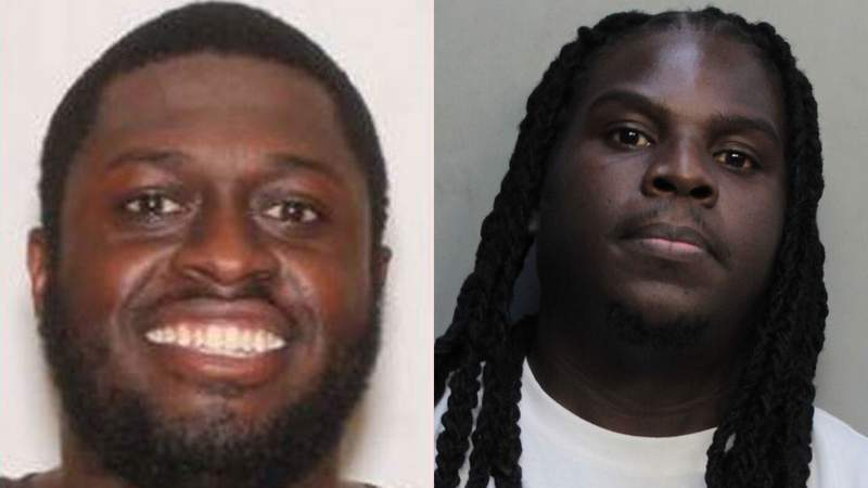 Frederick Eugene, left, surrendered on Thursday night to face charges in the Jan. 31 murder of Jimmy Fleurimond, right.