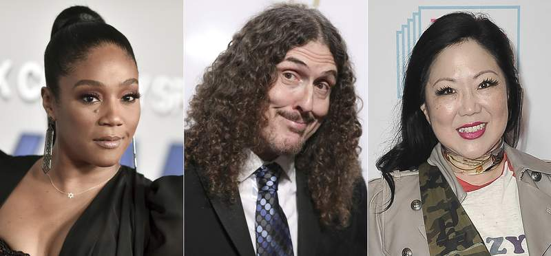This combination of photos shows, from left, Tiffany Haddish, Weird Al Yankovic and Margaret Cho, who will be participating in the annual Lucille Ball Comedy Festival, presented online by the National Comedy Center in Jamestown, New York, starting Friday. (AP Photo)