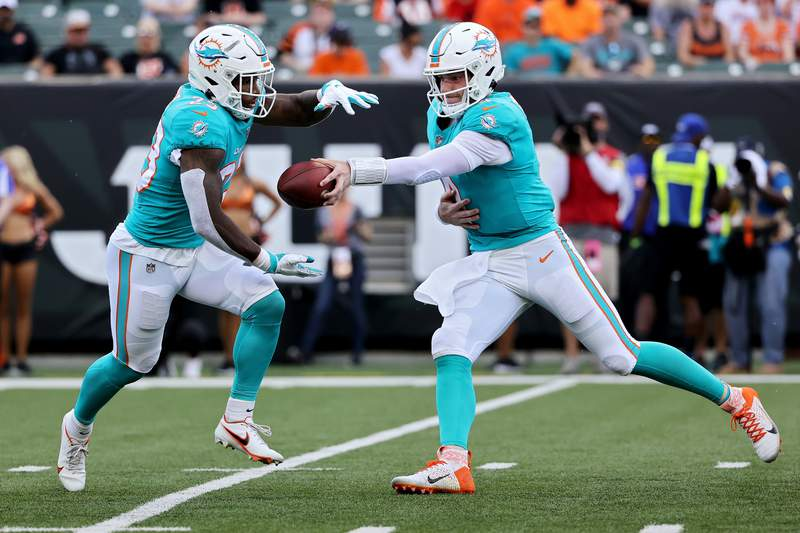 Reid Sinnett of the Miami Dolphins hands the ball off to Gerrid Doaks in the first quarter against the Cincinnati Bengals during a preseason game at Paul Brown Stadium on August 29, 2021 in Cincinnati, Ohio.