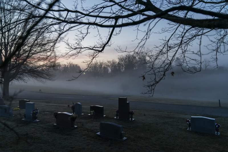 FILE - In this Wednesday, March 17, 2021 file photo, morning fog blankets a cemetery in West Virginia. The number of U.S. suicides fell nearly 6% in 2020 amid the coronavirus pandemic  the largest annual decline in at least four decades, according to preliminary government data. (AP Photo/David Goldman)