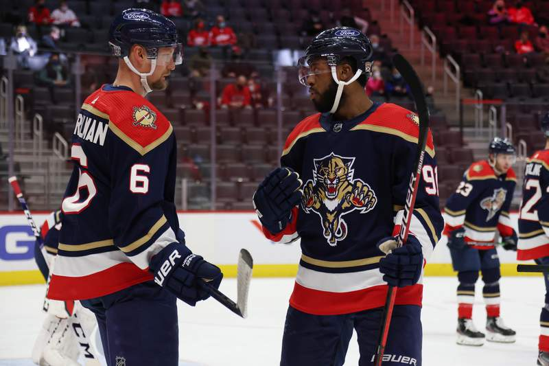 Anthony Duclair talks to Anton Stralman of the Florida Panthers talk while playing the Detroit Red Wings at Little Caesars Arena on February 20, 2021 in Detroit, Michigan.
