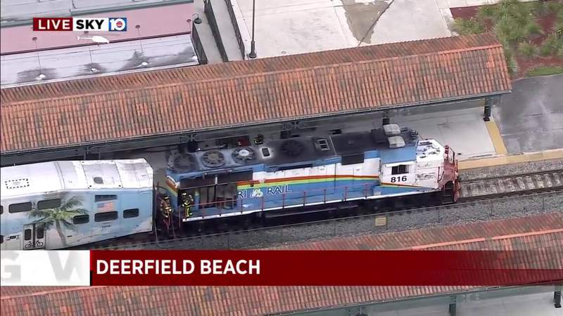 Tri-Rail train evacuated after engine catches fire in Deerfield Beach