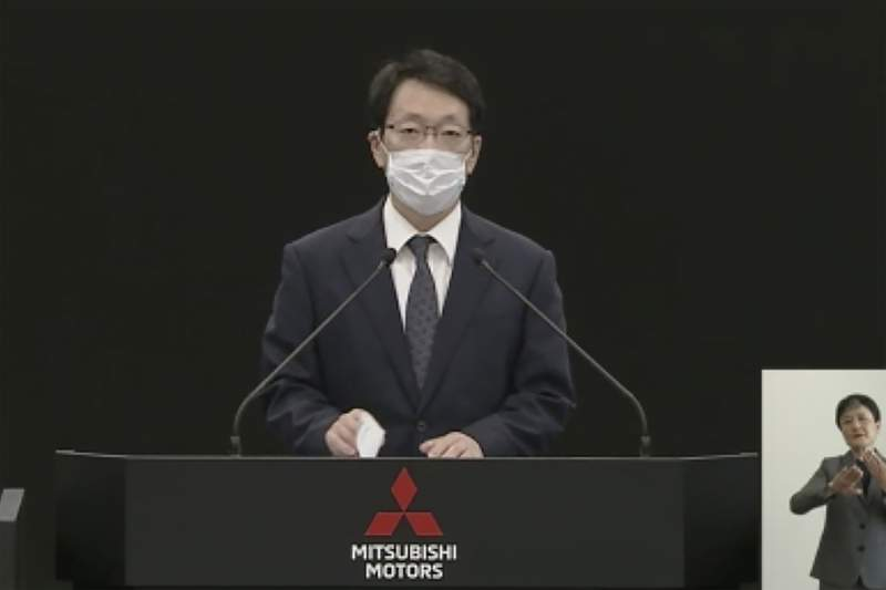 In this image from a video provided by Mitsubishi Motors Corp., Chief Executive Takao Kato speaks during its shareholders meeting Thursday, June 18, 2020. Mitsubishi Motors told shareholders Thursday that top executives are getting pay cuts to take responsibility for the Japanese automakers financial losses. (Mitsubishi Motors Corp. via AP)