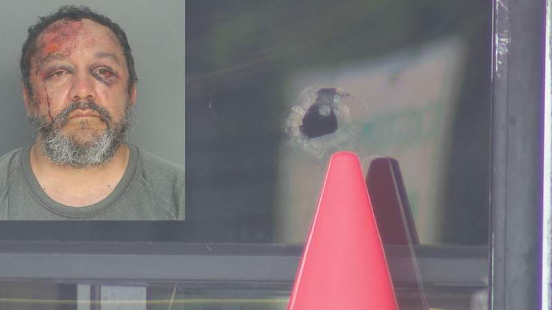 Michael Lopez's mugshot, and bullet hole that went through cafeteria window in southwest Miami-Dade.