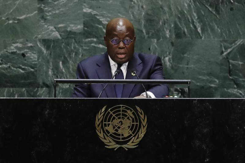 FILE- In this Sept. 25 2019 file photo, Ghana's President Nana Addo Dankwa Akufo-Addo addresses the 74th session of the United Nations General Assembly at the United Nations headquarters. Ghanaians head to the polls for general elections on Monday Dec. 7 2020 that many contend will be a close race between the current head of state and a former president who have faced off twice before in one of the continents most politically stable countries. The vote is also seen as a test of democracy for the West African nation whose regional neighbors Guinea and Ivory Coast saw leaders hold onto power for third terms after constitutional changes. Whoever wins Ghanas election will serve their second and final term. (AP Photo/Frank Franklin II, file)