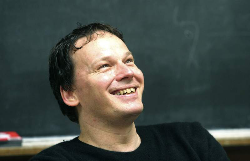 FILE - In this Oct. 12, 2005 file photo, David Graeber, associate professor of anthropology at Yale University reacts during class, in New Haven, Conn. Graeber, who worked on the initial stages of the Occupy Wall Street movement, has died in Venice, his agent Melissa Flashman said on Thursday, Sept. 3, 2020. He was 59. A professor of anthropology at the London School of Economics, Graeber studied anarchism and anti-capitalist movement, and challenged the world to consider the plight of the Kurds in the Middle East. Born in New York, he taught at Yale University before moving on to Goldsmiths, University of London and finally the London School of Economics. (AP Photo/Michelle McLoughlin, File)