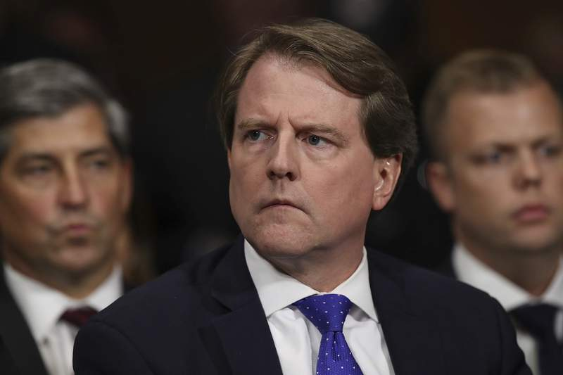FILE - In this Sept. 27, 2018, file photo, then-White House Counsel Don McGahn listens during a hearing on Capitol Hill in Washington. Former White House counsel Don McGahn will answer questions in private from the House Judiciary Committee in an apparent resolution of a long-running dispute over his testimony, according to a court document filed May 12, 2021. (Win McNamee/Pool Image via AP)