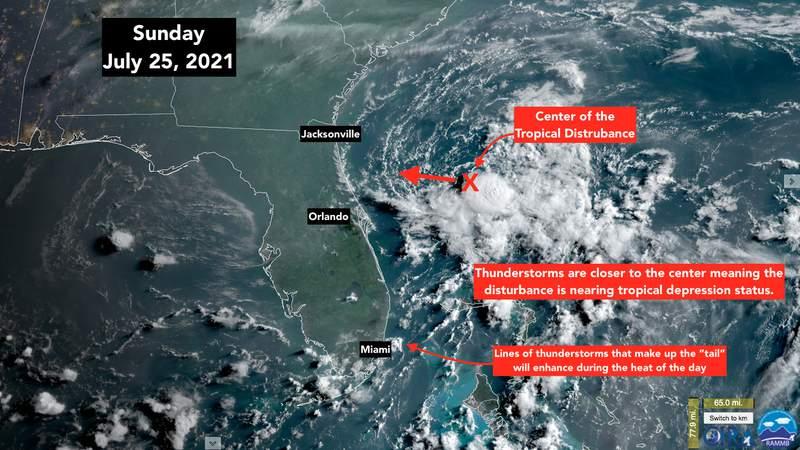 Tropical disturbance satellite image