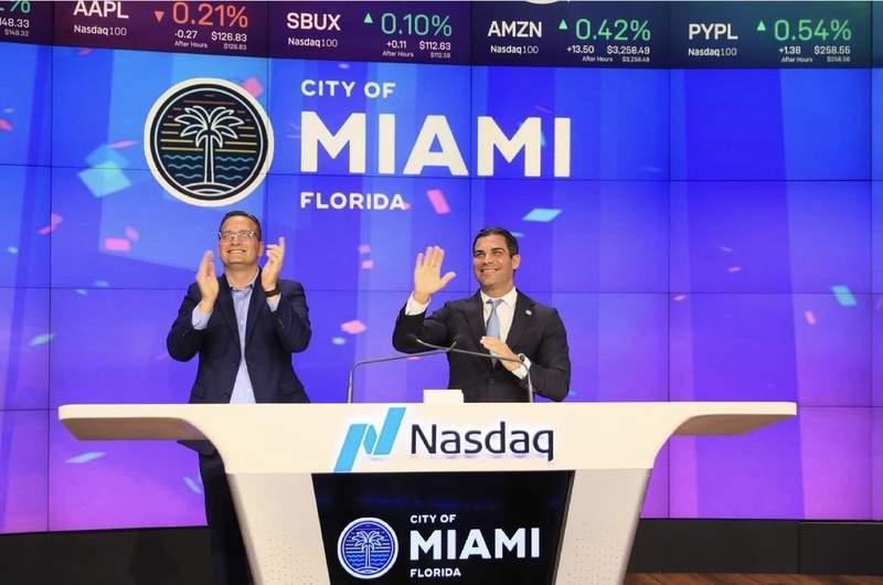 City of Miami Mayor Francis Suarez at the Nasdaq closing bell in May. Photo: Mayor Francis Suarez on Instagram.