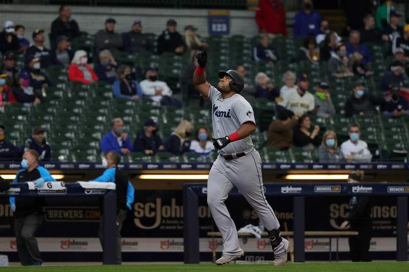 Jesus Aguilar of the Miami Marlins celebrates a three run home run during the fourth inning against the Milwaukee Brewers at American Family Field on April 28, 2021 in Milwaukee, Wisconsin.