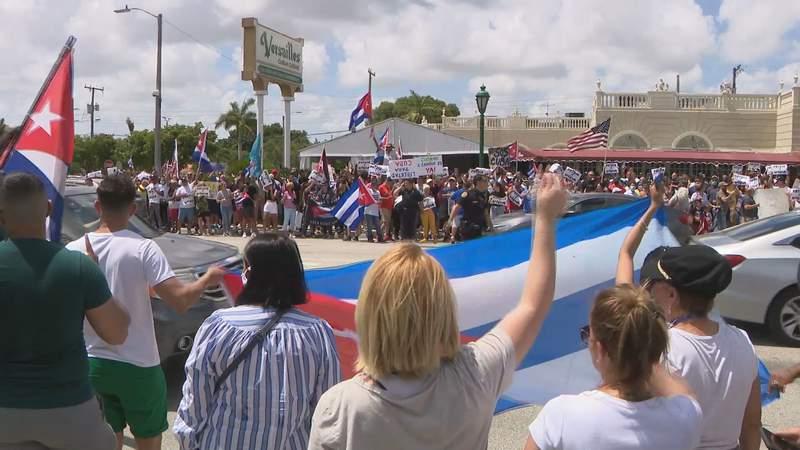 Cuban rally outside Cafe Versailles in Miami's Little Havana neighborhood.