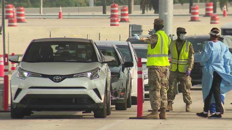 Hard Rock Stadium continues to see long lines for coronavirus testing