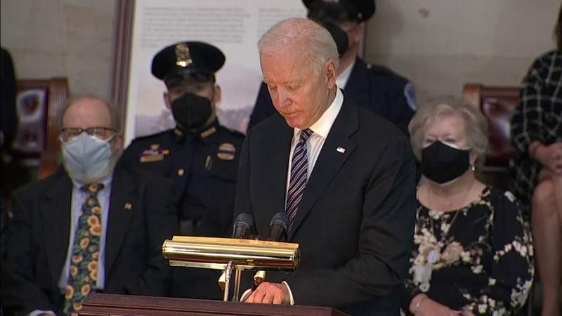 Biden honors Capitol police officer killed during Jan. 6 siege