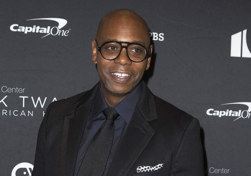 FILE - In this Oct. 27, 2019, file photo, Dave Chappelle arrives at Kennedy Center for the Performing Arts for the 22nd Annual Mark Twain Prize for American Humor presented to Dave Chappelle, in Washington. Chappelle tested positive for the coronavirus just before his comedy show scheduled for Thursday, Jan. 21, forcing his upcoming appearances to be canceled, a spokeswoman said. (Photo by Owen Sweeney/Invision/AP, File)