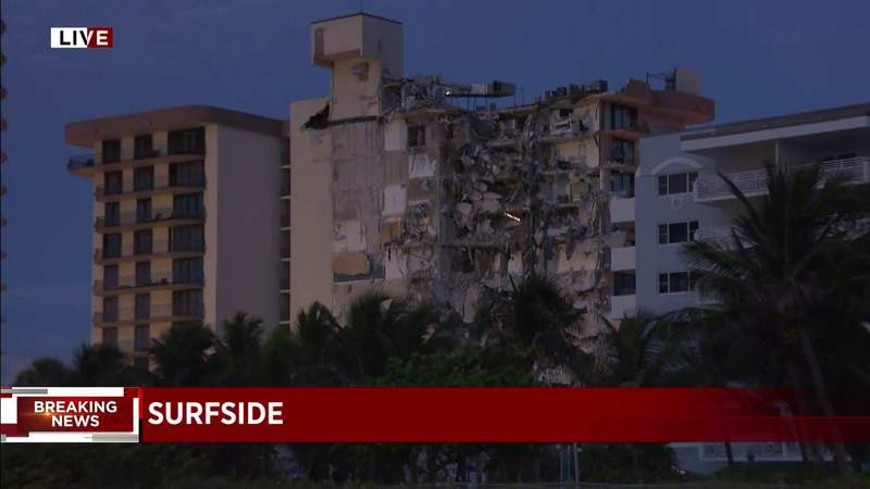WATCH CONTINUING COVERAGE LIVE: At least 1 dead, numerous others trapped following partial building collapse in Surfside