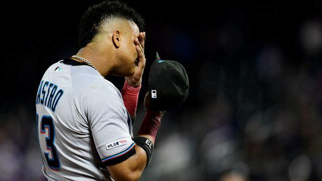 Starlin Castro #13 of the Miami Marlins reacts in the seventh inningagainst the New York Mets. (Photo by Emilee Chinn/Getty Images)