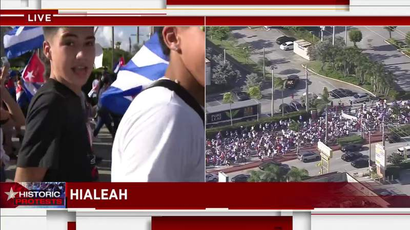 SOS Cuba protesters marching in Hialeah: Cubans need help from US