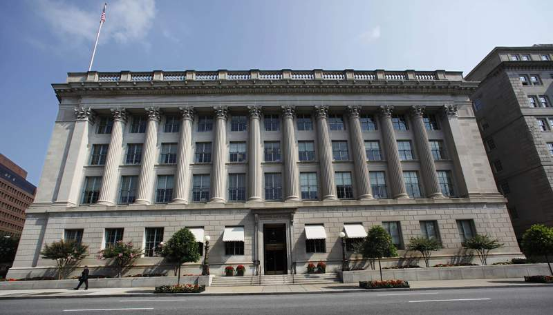 FILE - This Tuesday, Aug. 4, 2009, file photo shows the United States Chamber of Commerce building in Washington. Elite cyber spies have spent months secretly exploiting SolarWinds software to peer into computer networks, putting many of the company's highest-profile customers in national governments, including the U.S. Treasury and Commerce departments, and Fortune 500 companies on high alert. (AP Photo/Manuel Balce Ceneta, File)
