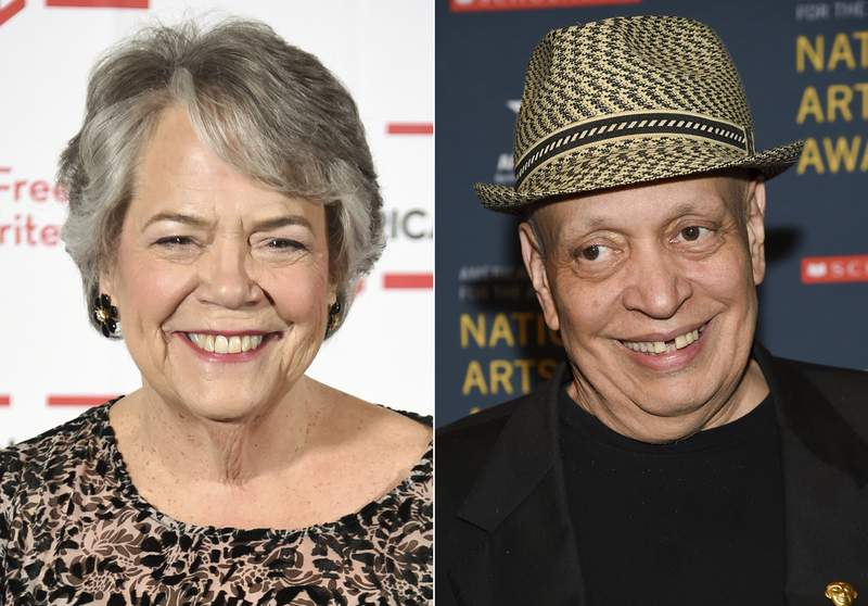 Carolyn Reidy appears at the 2018 PEN Literary Gala in New York on May 22, 2018, left, and Walter Mosley appears at the 2018 National Art Awards in New York on Oct. 22, 2018. The National Book Awards winners will be announced during an online ceremony Nov. 18, with honorary medals to be presented to Mosley and posthumously to Simon & Schuster CEO Carolyn Reidy. (AP Photo)