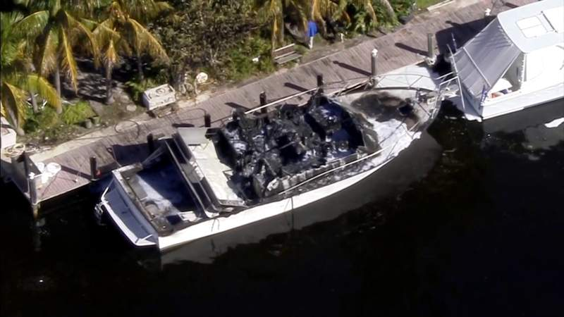 50-foot boat erupts in flames behind home in Pompano Beach