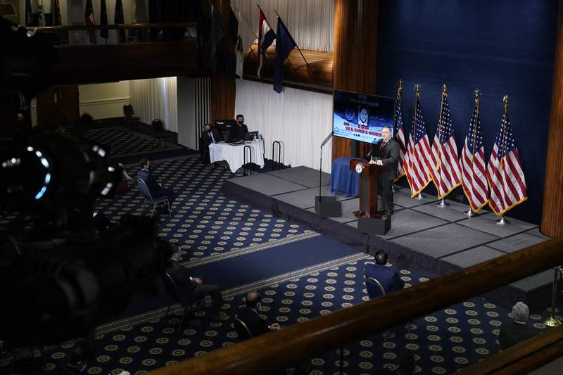 Secretary of State Mike Pompeo speaks at the National Press Club in Washington, Tuesday, Jan. 12, 2021. (AP Photo/Andrew Harnik, Pool)