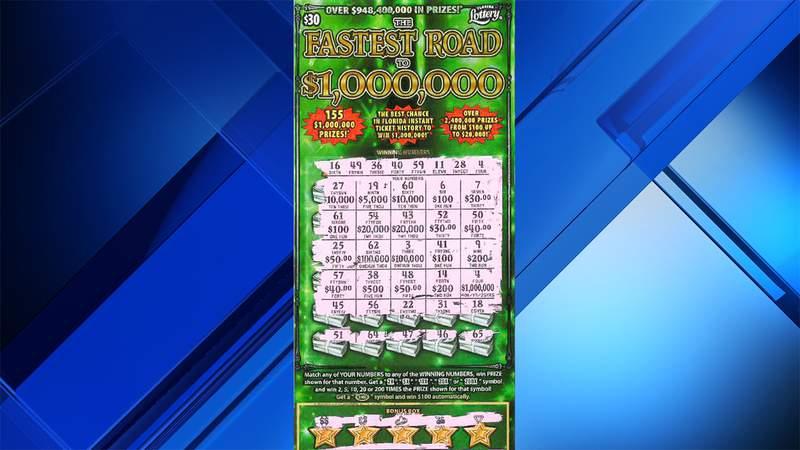 This scratch-off ticket revealed a $1 million top prize for Aida De Pena of Boynton Beach.