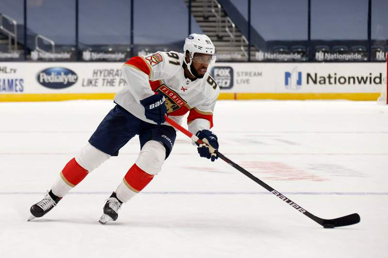 Anthony Duclair of the Florida Panthers prepares to take a shot during the shootout in the game against the Columbus Blue Jackets at Nationwide Arena on January 28, 2021 in Columbus, Ohio.