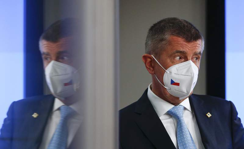 FILE - In this file photo dated Tuesday, May 25, 2021, Czech Republic's Prime Minister Andrej Babis after an EU summit in Brussels.  Czech police recommended again on Monday May 31, 2021, the indictment of Prime Minister Andrej Babis over alleged fraud involving European Union subsidies.(Johanna Geron, Pool FILE via AP)
