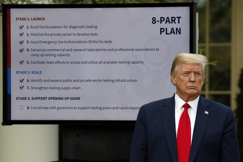 FILE - In this April 27, 2020, file photo, President Donald Trump listens during briefing about the coronavirus in the Rose Garden of the White House in Washington. For weeks, Trump has been eager to publicly turn the page on the coronavirus pandemic. But now the White House fears that the very thing that finally shoved the virus off centerstage  mass protests over the death of George Floyd  may bring about its resurgence. (AP Photo/Alex Brandon, File)