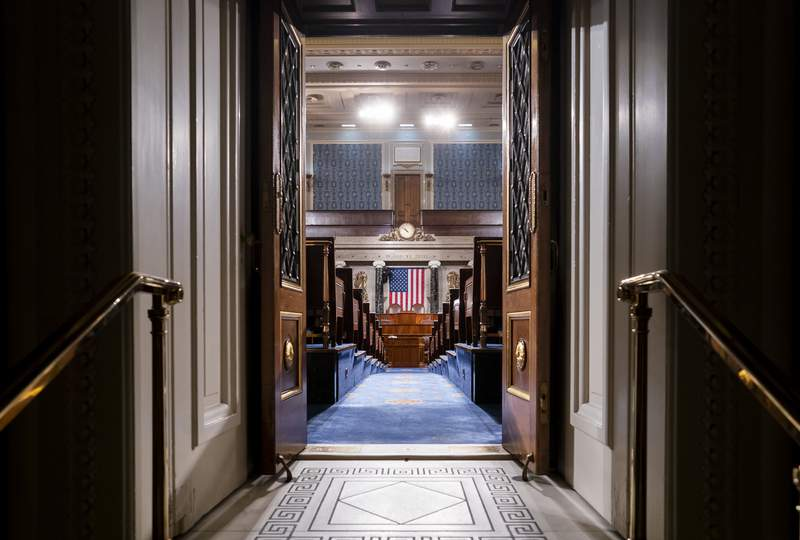 FILE - In this Feb. 3, 2020, file photo, the chamber of the House of Representatives is seen at the Capitol in Washington. Ahead of President Joe Bidens joint address to Congress, lawmakers are intensifying the push make sure key priorities are included. (AP Photo/J. Scott Applewhite, File)
