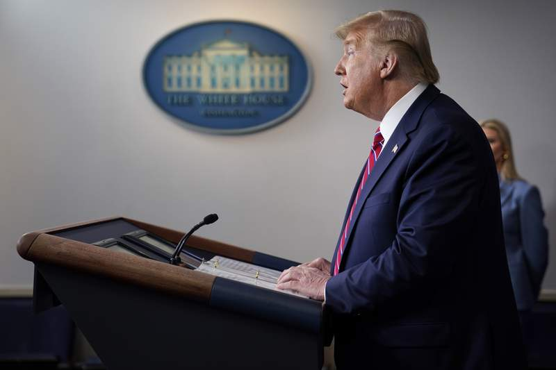 President Donald Trump speaks during a coronavirus task force briefing at the White House, Friday, March 20, 2020, in Washington. (AP Photo/Evan Vucci)
