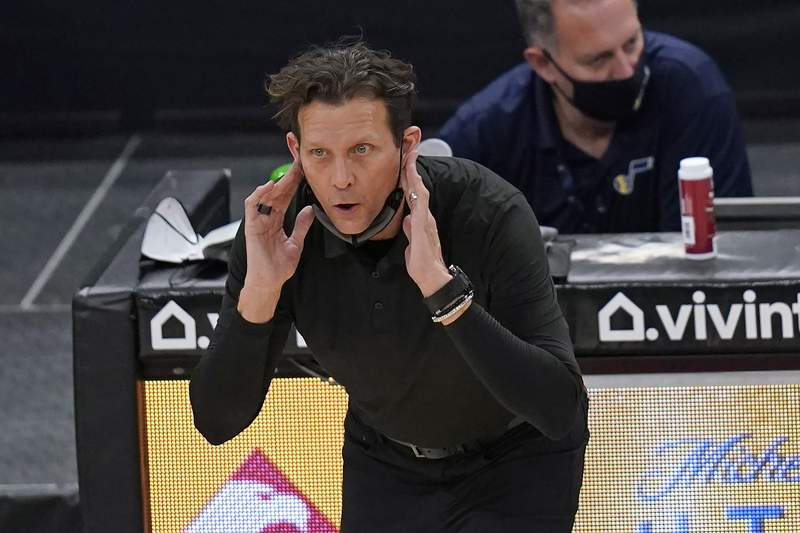 Utah Jazz head coach Quin Snyder talks to players during the second half of the team's NBA basketball game against the Milwaukee Bucks on Friday, Feb. 12, 2021, in Salt Lake City. (AP Photo/Rick Bowmer)
