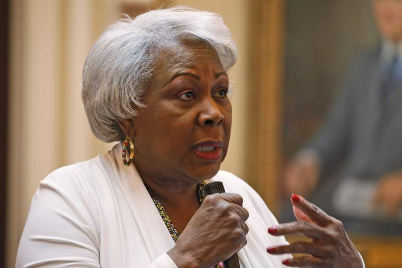 File-Senate President Pro Tempore, Sen. Louise Lucas speaks during a debate on the Senate floor at the Capitol Sunday, March 8, 2020, in Richmond, Va.   Lucas, 76, a Black woman and high-ranking Democratic power broker, stood near the 56-foot (17-meter) memorial in the city of Portsmouth. Police said she was with a group of people shaking up cans of spray paint. (T)hey gonna do it, and you cant stop them  they got a right, go ahead! police claim Lucas said. Lucass alleged statements are in a probable cause summary police filed last week. Two felony charges say she and several others conspired to damage the 19th Century memorial during a protest.  (AP Photo/Steve Helber, File)