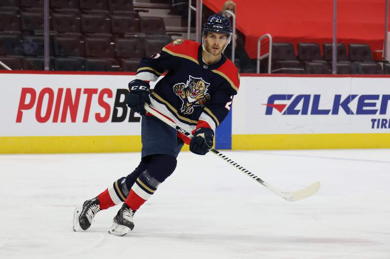 Alex Wennberg of the Florida Panthers skates against the Detroit Red Wings at Little Caesars Arena on February 20, 2021 in Detroit, Michigan.