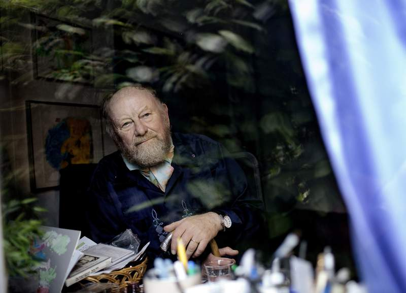 FILE - In this June 6, 2010 file photo, Danish cartoonist Kurt Westergaard is seen at his home near Aarhus, Denmark.  Danish cartoonist Kurt Westergaard, whose image of the Prophet Muhammad wearing a bomb as a turban was at the center of widespread anti-Danish anger in the Muslim world in the mid-2000s, has died aged 86, Westergaards family announced Sunday July 18, 2021. (Peter Hove Olsen / Polfoto via AP, file)