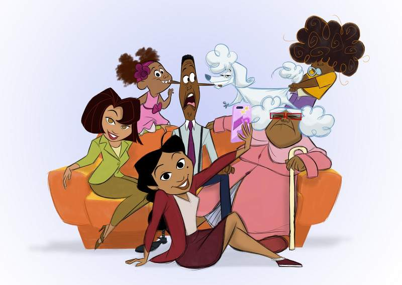 """This image released by Disney Plus shows characters from a revival of the new animated series """"The Proud Family: Louder and Prouder"""" The new series will feature original cast members including Kyla Pratt as Penny Proud and Tommy Davidson and Paula Jai Parker as her parents, Oscar and Trudy. (Disney+ via AP)"""